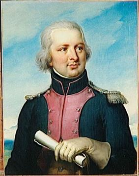 Painting of a slightly pudgy man with gray hair in a blue military uniform.