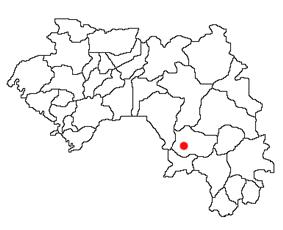 Location of Kissidougou Prefecture and seat in Guinea.