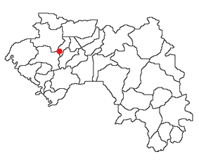 Location of Lélouma Prefecture and seat in Guinea.
