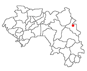 Location of Mandiana Prefecture and seat in Guinea.