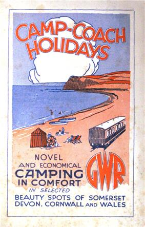 A stylised painting of a coast line in red and blue with the sea on the left and a railway coach on the right. At the top is the title