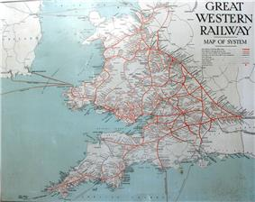 A map showing Wales and south west England. The words Great Restern Railway