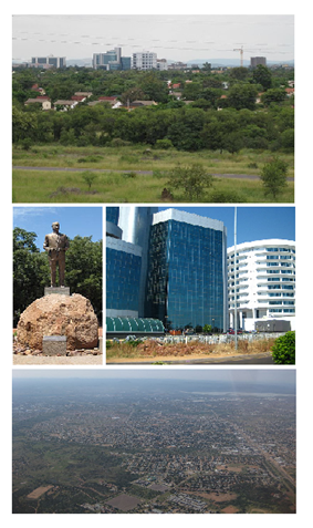 From top to bottom: skyline view of Gaborone, statue of Seretse Khama, the city centre of Gaborone, bird's-eye view of Gaborone