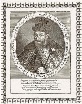 Ornate drawing of bearded man holding a scepter