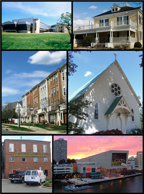 The NIST Advanced Measurement Laboratory in 2004, the Gaithersburg city hall in 2007, a row of Gaithersburg townhouses in 2008, the Saint Rose of Lima Catholic Church in 2013, the John A. Belt Building in 2009, and the Washingtonian Waterfront in 2006.