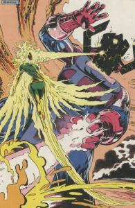 The Phoenix battles and defeats a malnourished Galactus. Art by Alan Davis.