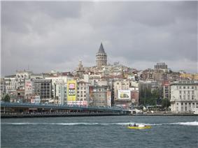 A view of the Karaköy skyline from the Bosphorus