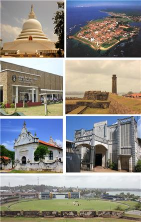 Clockwise from top left: Galle Temple, Aerial view of Galle Fort, Interior of the Galle Fort, St. Aloysius College, Galle View of the Galle International Stadium from the Fort, Dutch Reformed Church of Galle, Galle Municipal Council
