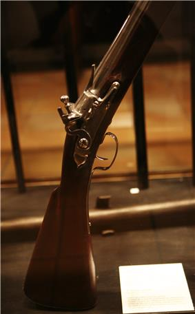 Well-polished stock, firing mechanism and lower barrel of a vertically-mounted musket. The musket is standing within a case, with an illegible white label at lower right.