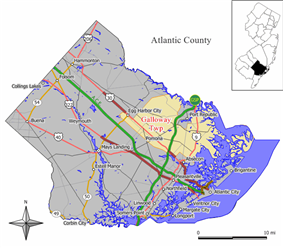 Map of Galloway Township in Atlantic County. Inset: Location of Atlantic County highlighted in the State of New Jersey.