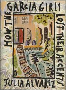 First edition cover showing impressionist picture of a house with door and steps leading up to it, with trees and telegraph poles