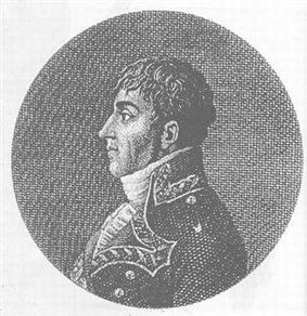 Black and white print of a young man with sideburns in dark late 18th century military uniform. He faces to the viewer's left.