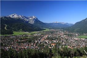 Garmisch-Partenkirchen with Alpspitze and Zugspitze