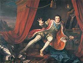 A young actor—wearing a red ermine-edged gown over a green doublet and stuffed hose, with white stockings, and a gold medallion hanging from a blue ribbon about his ruffed neck—falls melodramatically on to the couch in a tent of red curtains with gold tassels. Inside, in the background, hangs a lamp illuminating a painting of the crucifixion; in front, a blue silk drape has fallen to the floor. His discarded armour lies to his right (the viewer's left), above which mountains behind the tent are visible in the distance.