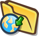 Cartoon file folder with action arrow pointing to planet Earth