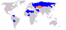 Members (blue) and observers (orange) of the Gas-Exporting Countries Forum.