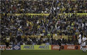 Player kicking a ball, with crowded stands in background