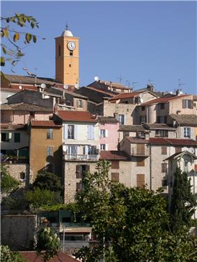 A view of Gattières, with the tower of the church of Saint-Nicolas
