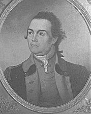 Print shows a man in a 18th-century military uniform.