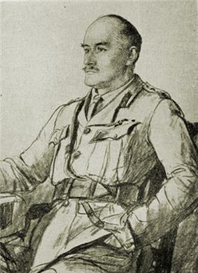 Drawing of a hatless commanding officer with a mustache