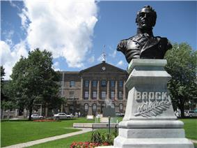 Statue of General Isaac Brock outside the courthouse in Downtown Brockville.