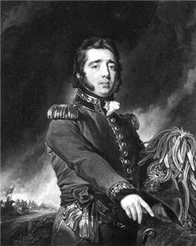 A man with dark hair and side-burns, wearing a dark, early-19th-century general's uniform.