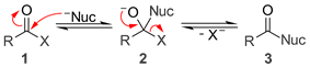 A general mechanism for base catalyzed nucleophilic acyl substitution.