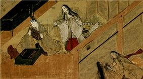 Three women and one man seated in a house and on an engawa. The man, inside the house, is keeping a flat object in his hand while a woman approaches him from behind. Two other women are seated just outside the room as if eavesdropping.