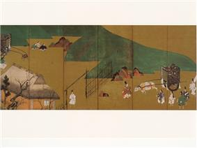 Landscape with people in court attire with an ox-drawn cart, another cart, a fence, a building and hills.