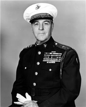 A black and white image of Gerald Thomas, a white male in his Marine Corps dress uniform