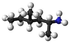 Ball and stick model of methylhexanamine