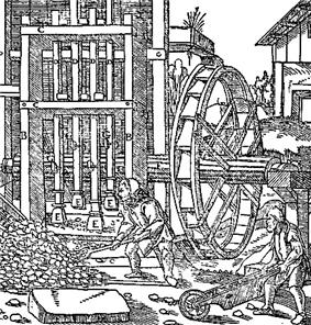 old picture of miners at work in the 16th century