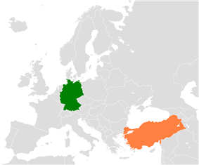 Map indicating locations of Germany and Turkey