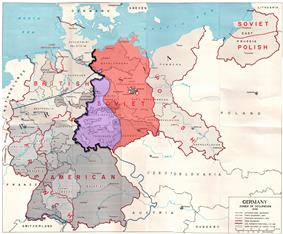 Map of the Allied zones of occupation in post-war Germany, as well as the line of US forward positions on V-E Day. The south-western part of the Soviet occupation zone, close to a third of its overall area was west of the U.S. forward positions on V-E day.