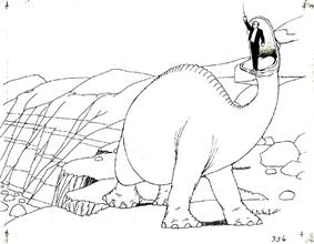 Animated black-and-white image of a large dinosaur atop a cliff, with a man in a suit standing in its mouth. Several boulders can be seen in the background.