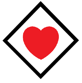 red heart in black square