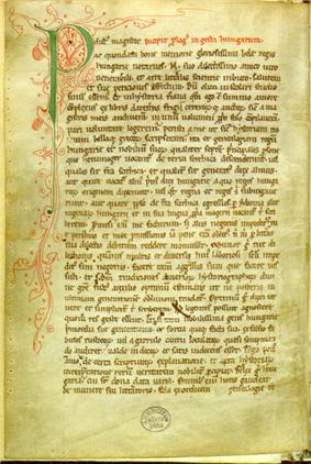 A page from an old codex presenting a large green P initial decorated with tendrils