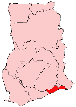 Location of Greater Accra Region in Ghana