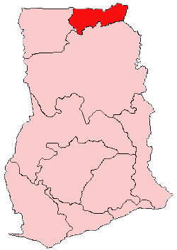 Location of Upper East Region in Ghana
