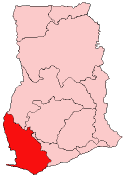 Location of Western Region in Ghana