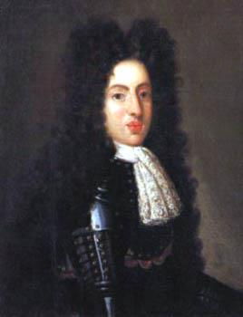 A 19 year-old man wears a black suit of armour and peri-wig.