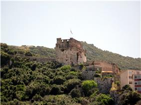 Ruins of  stone castle on a hillside