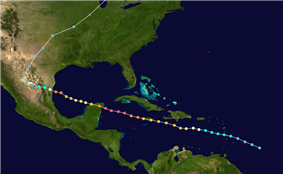 This image is a satellite tracking of Hurricane Gilbert. Notice that different colors of the dots represent different categories.