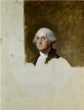 Detailed painting of head and shoulders  of Washington. Over half of the canvas is blank.