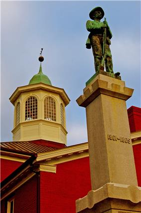 Giles County Courthouse, Confederate Memorial and cupola in Pearisburg, Virginia (photographed by Taber Andrew Bain)