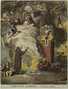 A man is kneeling before an altar where papers are burning, fanned by a fool. The smoke contains a variety of fanciful images. A mall gnome, sitting in a volume with the word