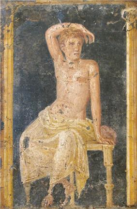 Fresco of young man, Villa di Arianna, Stabiae, 1st century AD.