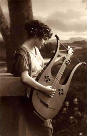 A painting depicting a girl with a lyre-guitar.