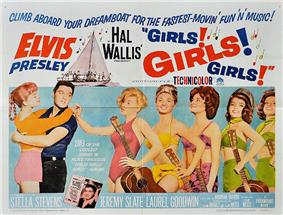 Movie poster with Presley on the left, holding a young woman around the waist, her arms draped over his shoulders. To the right, five young women wearing bathing suits and holding guitars stand in a row. The one in front taps Presley on the shoulder. Along with title and credits is the tagline