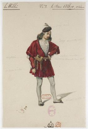 Sketch, with notes, of a male wearing red and white, Renaissance-style clothes, with tights and a black feathered hat.